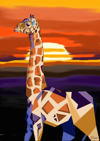 giraffe art_signed
